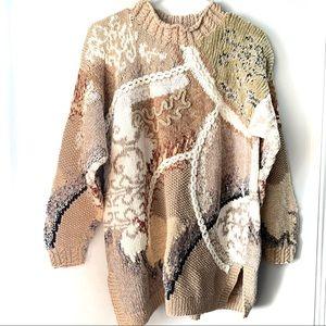 Vintage Tiara Oversized Mixed Texture Tan Sweater